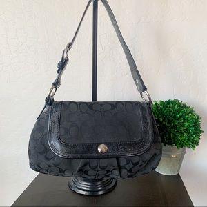 Coach Hobo Shoulder Bag Black Canvas Leather